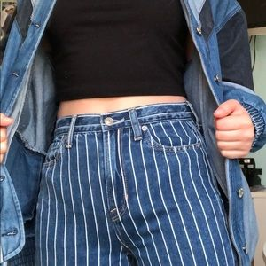 American Eagle Pinstripe Mom Jeans